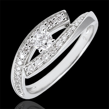 خاتم سوليتير دستيني ـ ديڢا ـ الذهب الأبيض 9 قيراط ـ حجم صغير ـ 0.08 قيراط