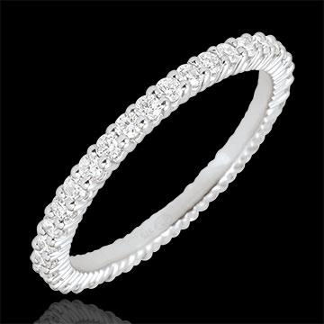 خاتم زواج إشعاع من الذهب الأبيض 9 قيراط ـ 38 ماسة