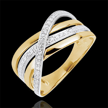 present Ring Saturn Quadri - yellow gold - 18 carat