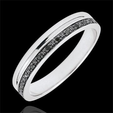 خاتم زواج أناقة من الذهب الأبيض 9 قيراط والألماس الأسود