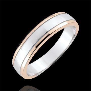 خاتم زواج رجالي الأفق ـ الذهب الأبيض والذهب الوردي 9 قيراط