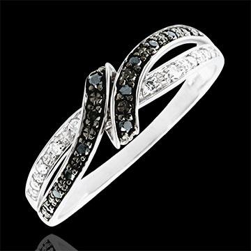 خاتم كياروسكورو ـ الموعد ـ الذهب الأبيض 9 قيراط و الألماس الأسود