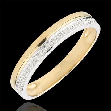 خاتم زواج إيليغونس من الذهب الأبيض و الذهب الأصفر9 قيراط