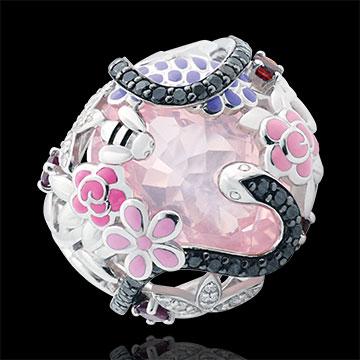 خاتم نزهة سحرية ـ الفردوس الوردي ـ الفضة والأحجار الكريمة
