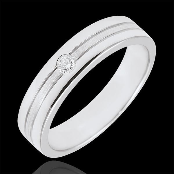 Alianza Diamante Estrella - Pequeño Modelo - oro blanco Rugoso 18 quilates