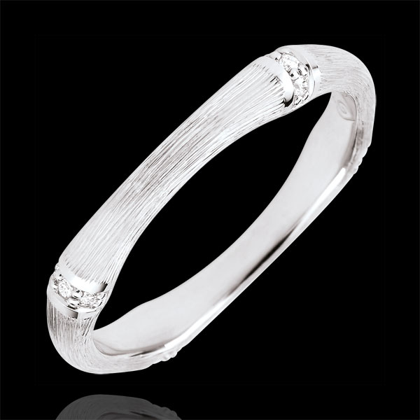Alianza Jungla Sagrada - Multidiamantes 3 mm - oro blanco rugoso 18 quilates
