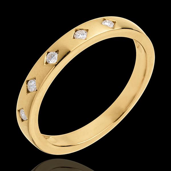 Alianza Lluvia de diamantes - oro amarillo 18 quilates y 5 diamantes