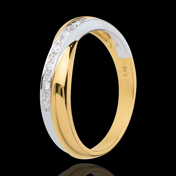 Alianza Miria - oro amarillo y oro blanco engaste raíl 18 quilates - 7 diamantes