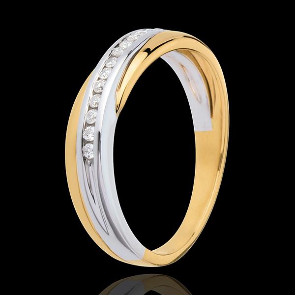 Alianza oro amarillo y oro blanco engaste raíl - 14 diamantes