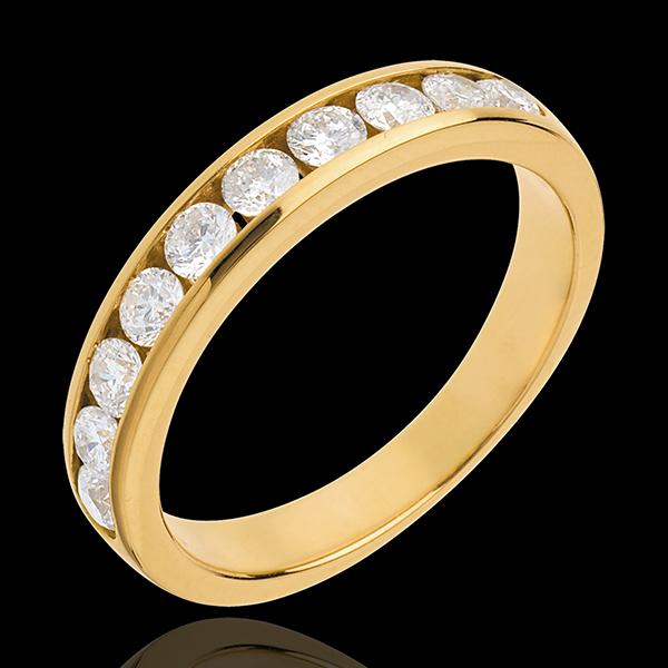 Alianza oro amarillo semi empedrado - engaste raíl - 0.65 quilates - 10 diamantes