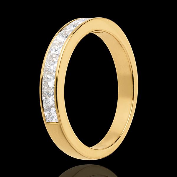 Alianza oro amarillo semi empedrado - engaste raíl - 0.7 quilates - 10 diamantes