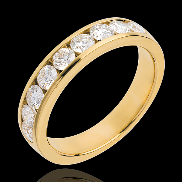 Alianza oro amarillo semi empedrado - engaste raíl - 1 quilates - 9 diamantes