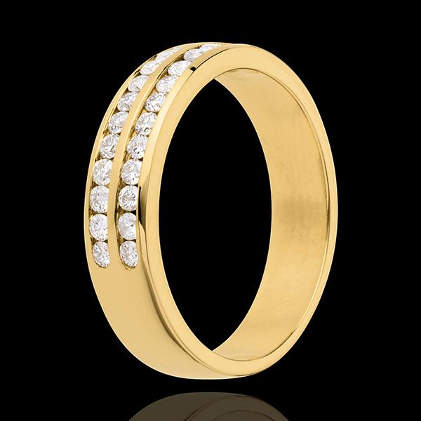 Alianza oro amarillo semi empedrado - engaste raíl 2 vueltas - 0.36 quilates - 24 diamantes