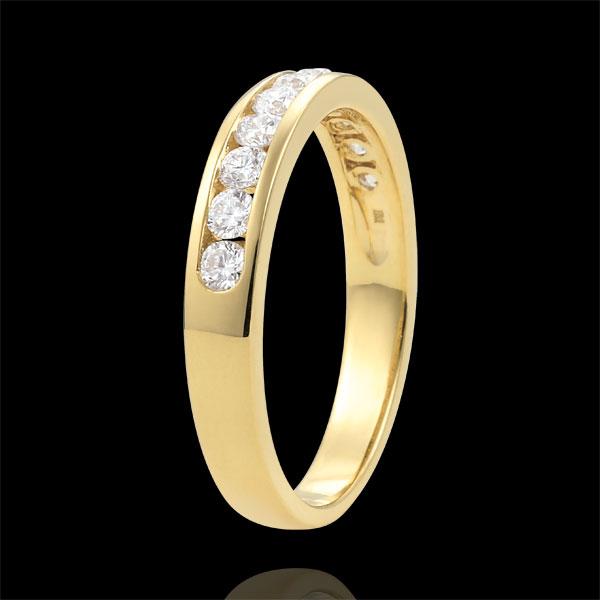 Alianza oro amarillo semi pavimentada - engaste de carril - 0.4 quilates - 11 diamantes