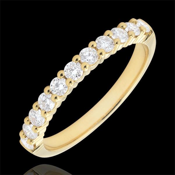 Alianza oro amarillo semi pavimentada - engaste de garras - 0.4 quilates - 11 diamantes