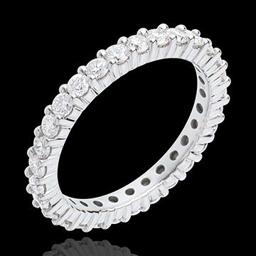 Alianza oro blanco empedrado - engaste garras - 1.2 quilates - 30 diamantes