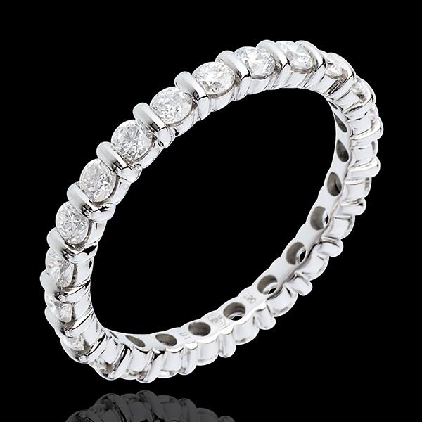 Alianza oro blanco empedrado - engaste pasador - 1.25 quilates - 22 diamantes