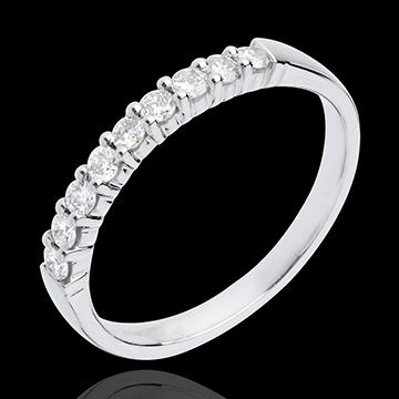 Alianza oro blanco semi empedrado - engaste garras - 0.25 quilates - 9 diamantes