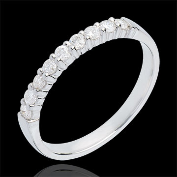 Alianza oro blanco semi empedrado - engaste garras - 0.3 quilates - 9 diamantes
