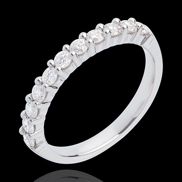 Alianza oro blanco semi empedrado - engaste garras - 0.5 quilates - 11 diamantes