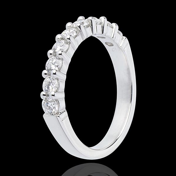 Alianza oro blanco semi empedrado - engaste garras - 0.75 quilates - 9 diamantes