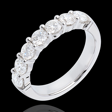 Alianza oro blanco semi empedrado - engaste garras - 1.2 quilates - 7 diamantes