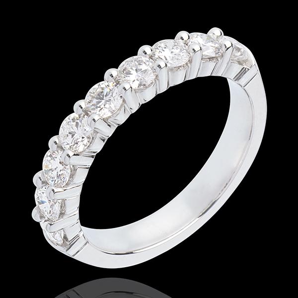 Alianza oro blanco semi empedrado - engaste garras - 1 quilates - 9 diamantes