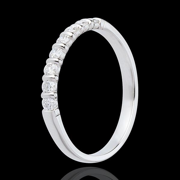 Alianza oro blanco semi empedrado - engaste pasador - 0.25 quilates - 8 diamantes