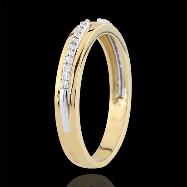 Alianza Promesa - dos oros y diamantes - pequeño modelo - oro blanco 9 quilates