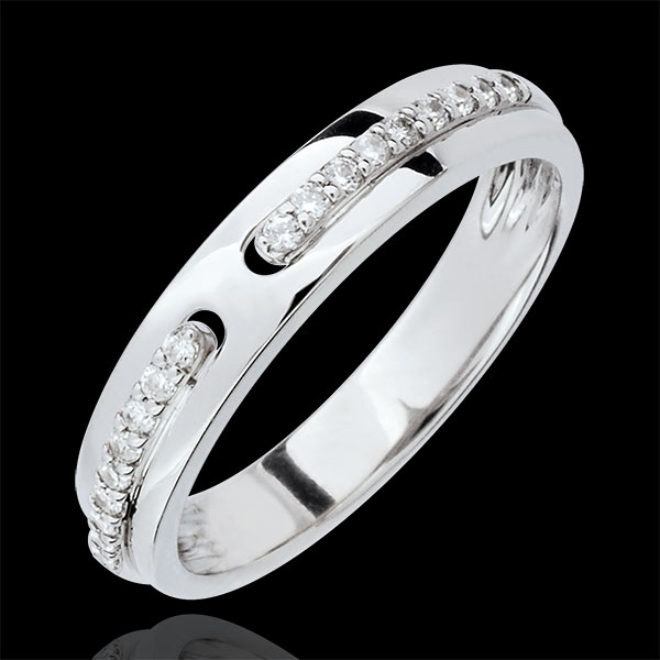 Alianza Promesa - gran modelo - oro blanco 9 quilates y diamantes