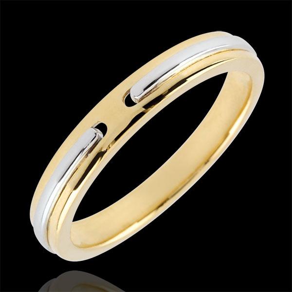 Alianza Promesa - pequeño modelo - oro amarillo y oro blanco 18 quilates