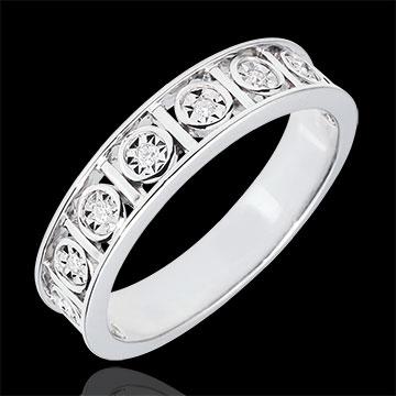 Alianza Secreto de Amor - oro blanco 9 quilates - 9 Diamantes