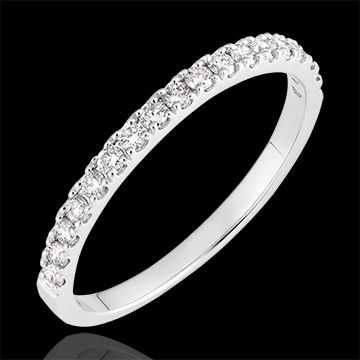 Alliance Bettina - or blanc 9 carats et diamants