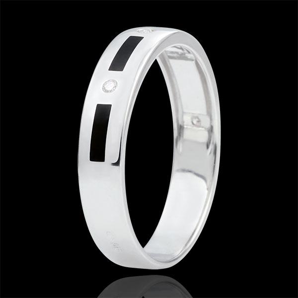 Alliance Clair Obscur - pointillés laque noire - 4 diamants - 5mm - or blanc 18 carats