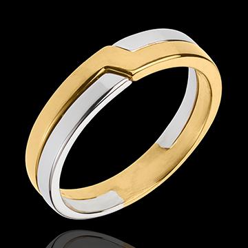 Alliance Clé de Voute - or blanc et or jaune 18 carats