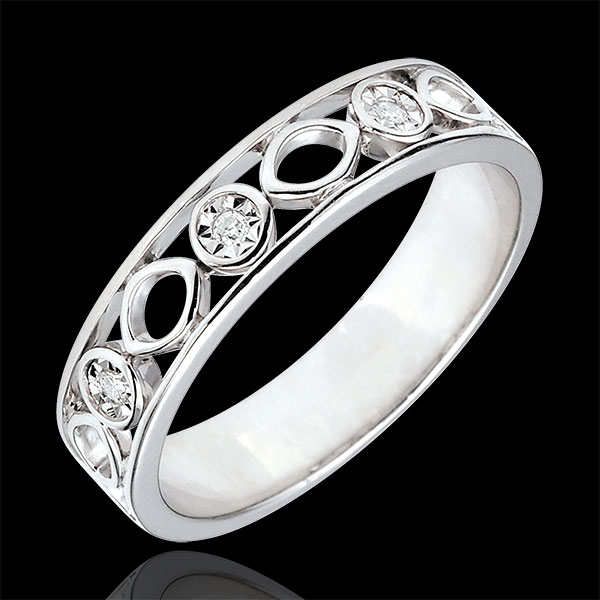 Alliance Destinée - Apolyne - 3 Diamants - or blanc 9 carats