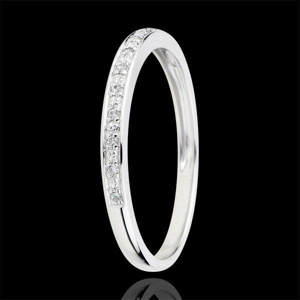 Alliance Eclats de diamant - or blanc 18 carats et diamant - demi-tour