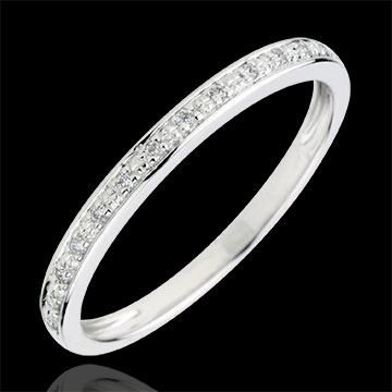 Alliance Eclats De Diamant Or Blanc 9 Carats Et Diamants Demi Tour