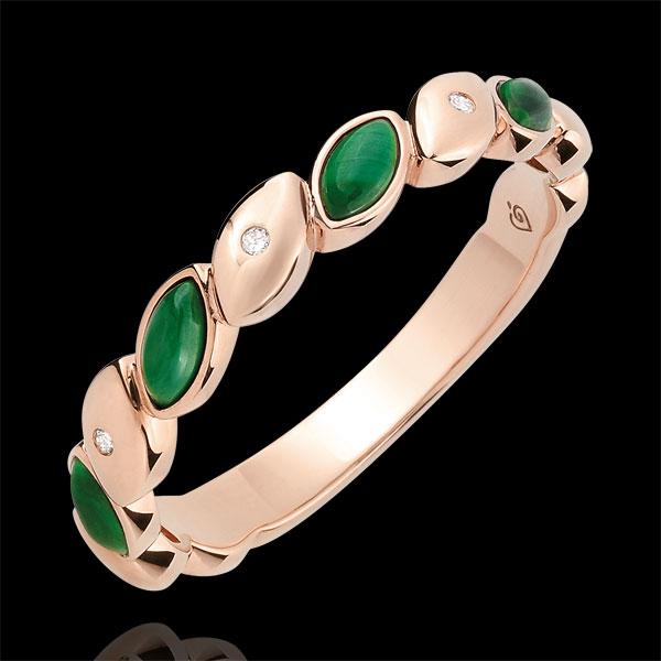 Alliance Félicité - Malachite et diamants - Or rose 18 carats