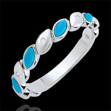 Alliance Félicité - Turquoise et diamants - Or blanc 9 carats
