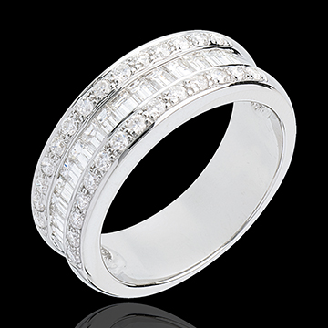 Bague alliance femme or blanc diamant