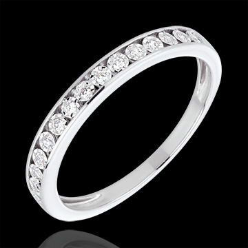 Alliance sertis magiques or blanc 18 carats et diamants
