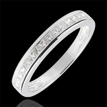 Anneau Diamants Princesse sertis rail - 0.36 carats - or blanc 18 carats