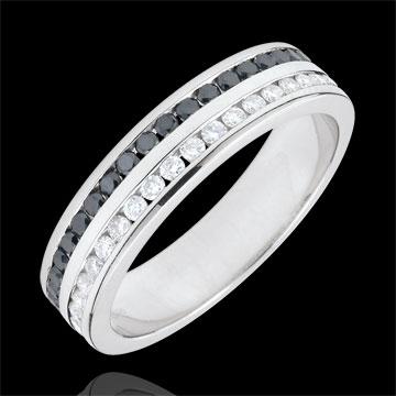 Alliance or blanc 9 carats diamants et diamants noirs semi pavée - serti rail 2 rangs - 0.32 carats - 32 diamants