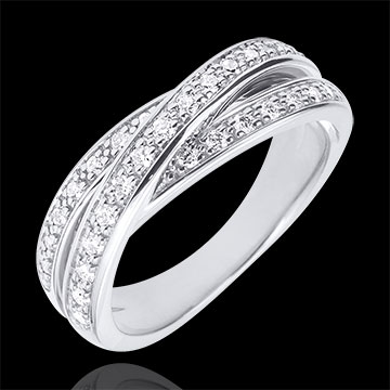 Anneau Saturne Diamant - or blanc 9 carats - 29 diamants