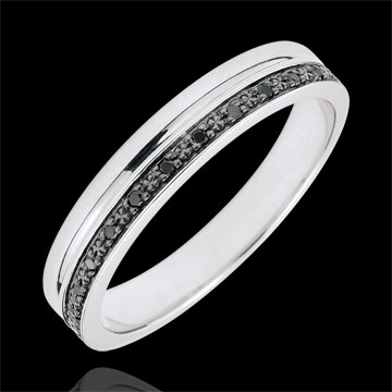 Alliance Elégance or blanc 9 carats et diamants noirs