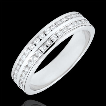 Alliance or blanc 9 carats semi pavée - serti rail 2 rangs - 0.32 carats - 32 diamants