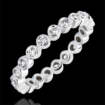 Alliance Fleur de Sel - Serti Clos Tour Complet - or blanc 9 carats et diamants