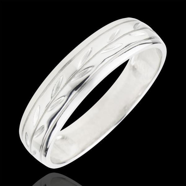 Alliance Fraicheur - Rameaux gravés variation or blanc 9 carats