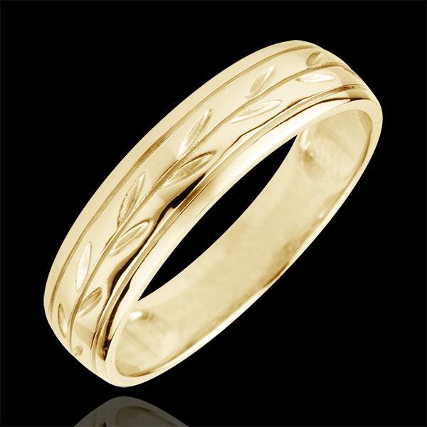 Alliance Fraicheur - Rameaux gravés variation or jaune 18 carats